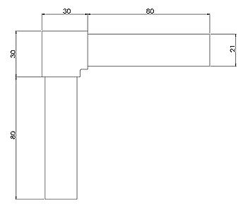 25x21mm Top Mounted Handrail 90 Degree Corner
