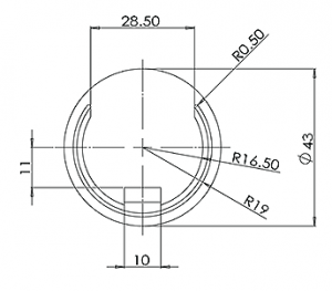 42.4MM U – CHANNEL END CAP CAD