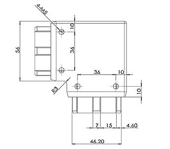 50x10mm Handrail 90 Degree Corner