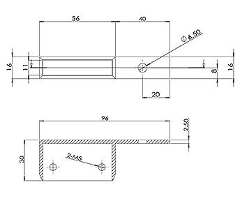 50x10 Handrail Wall Tie 40mm Offset