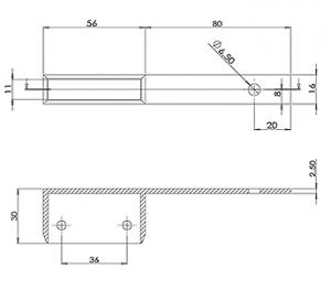 50x10 Handrail Wall Tie 80mm Offset CAD