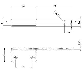 50x10 Handrail Wall Tie 80mm Offset