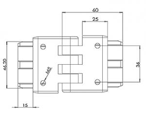 50x10 Handrail Adjustable Height Joiner CAD