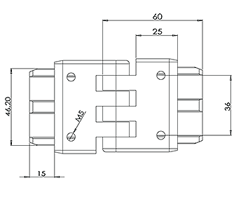 50x10 Handrail Adjustable Height Joiner