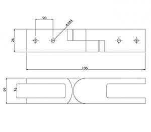 GLASS CLAMP CORNER ADJUSTABLE CAD