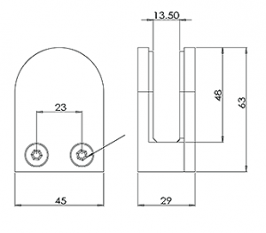 D Shape Glass Clamp Flat Back CAD