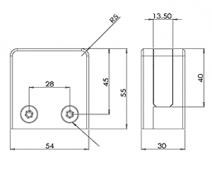 Square Glass Clamp Flat Back CAD