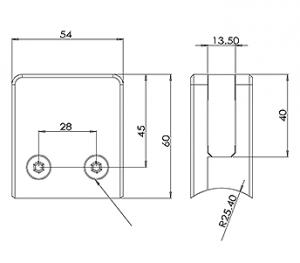 GLASS CLAMP SQUARE 50.8 – RADIUS BACK CAD