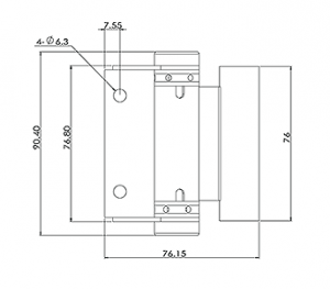 Glass Gate Hinge Round Post CAD