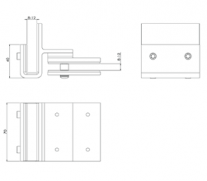 Glass Gate Latch Corner Out CAD