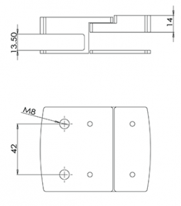 Glass Gate Latch Inline 180 Degree CAD