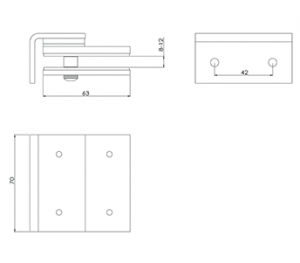 Glass Gate Latch Wall Mounted CAD