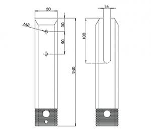 Square Core Drill Pool Fence Spigot CAD