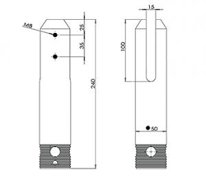 Round Core Drilled Balustrade Spigot CAD