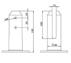 Round Flanged Balustrade Spigot CAD