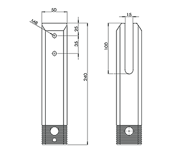 Square Core Dilled Pool Fence Spigot