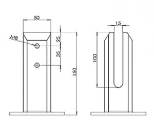 Square Flanged Balustrade Spigot CAD